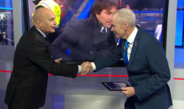 Antonio Conte and Jose Mourinho shown by Ray Wilkins how to handshake in cringe TV moment