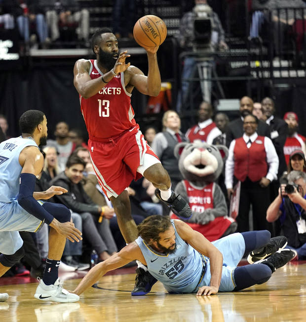 NBA Notebook: Harden's 57 points lead Rockets past Grizzlies