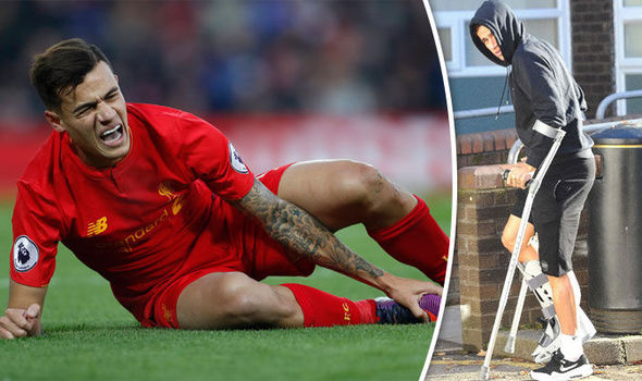 Liverpool ace Philippe Coutinho pictured heading for scan: Jurgen Klopp sweats on fitness