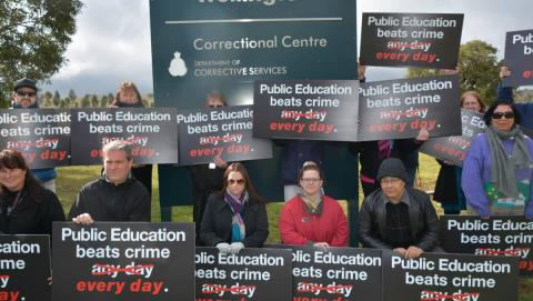 NSW prison teachers protest against job cuts