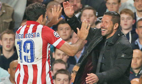 Chelsea striker Diego Costa and former boss Diego Simeone meet up