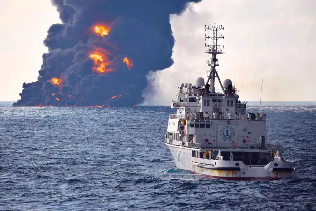 'No hope' for 29 missing sailors as burning oil tanker sinks off coast of China