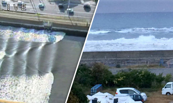Video shows first tsunami waves strike after large earthquake rocks Japan