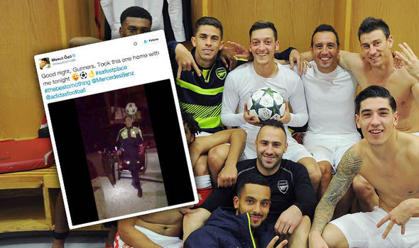 Spotted: Mesut Ozil swaggers home with Champions League match ball after Arsenal hat-trick