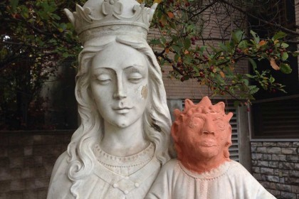 Baby Jesus statue given 'Maggie Simpson' head