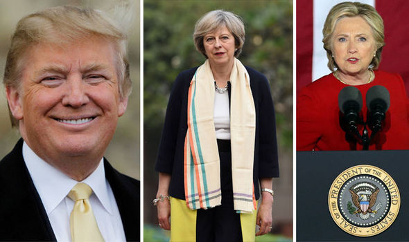 Theresa May wishes good luck to Hillary Clinton AND Donald Trump ahead of US election