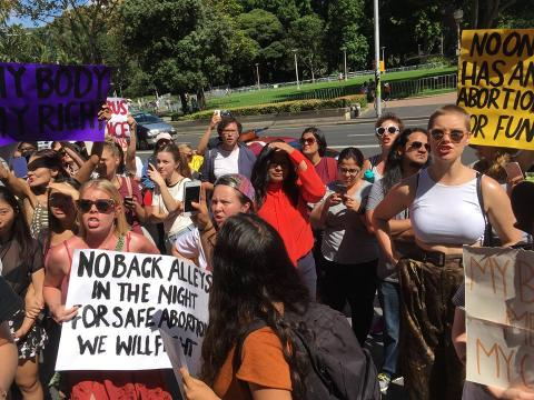 Pro-choice activists stand up to organised shaming