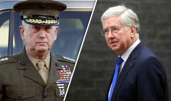 Sir Michael Fallon congratulates Trump's defence secretary General James Mattis
