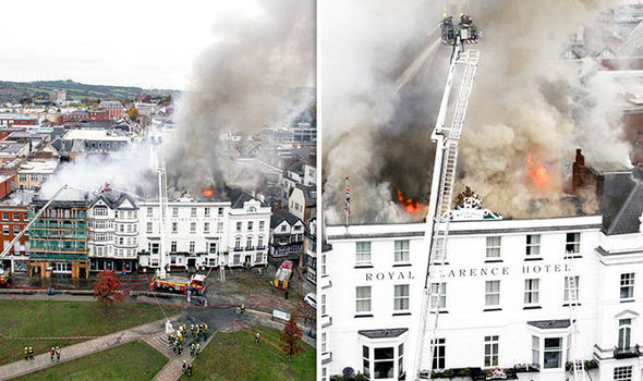 Fire brigade fight to save England's oldest hotel