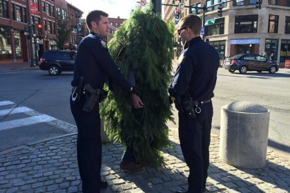 Man dressed as a tree arrested for blocking traffic
