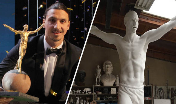Spotted: The first snaps of Zlatan Ibrahimovic's statue as Man Utd ace honoured by Sweden