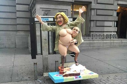 Hillary Clinton appears in New York - naked and hooved