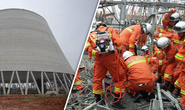 Forty killed and dozens trapped as power plant cooling tower collapses in China