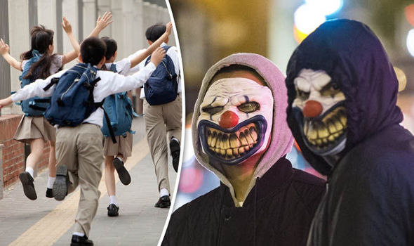 Schoolchildren left distressed after pranksters dressed as CLOWNS jump out from bushes