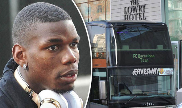 Paul Pogba returns from Man United training to find Barcelona stars at home