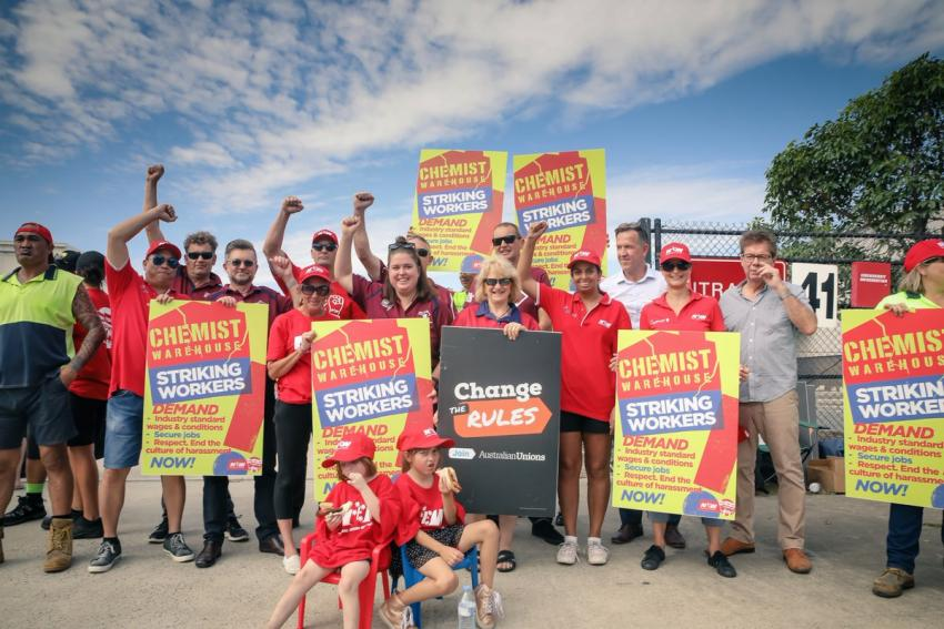 Striking Chemist Warehouse workers hold strong