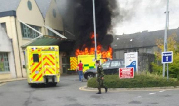 BREAKING: Patient dies after ambulance explodes into flames outside hospital