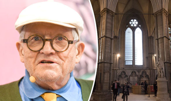 What is David Hockney doing to a Westminster Abbey window?