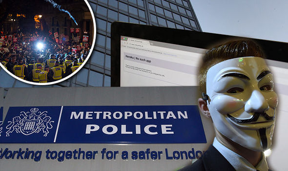 'Downtime B****' Met police 'HACKED by Anonymous as revenge for Million Mask March arrests
