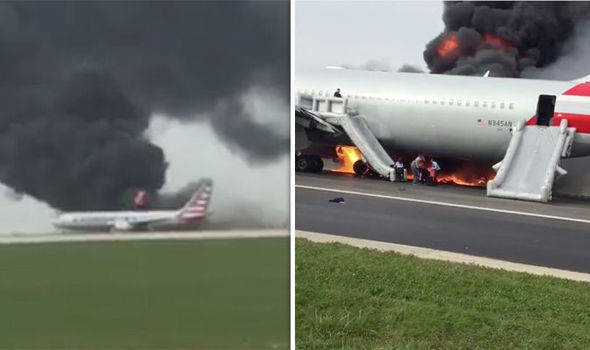 BREAKING NEWS: Plane catches FIRE on airport runway - six ambulances arrive on tarmac
