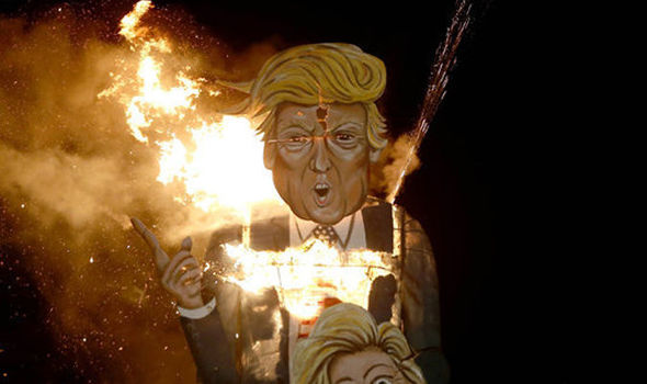 British town burns massive effigy of DONALD TRUMP to celebrate Guy Fawkes Night