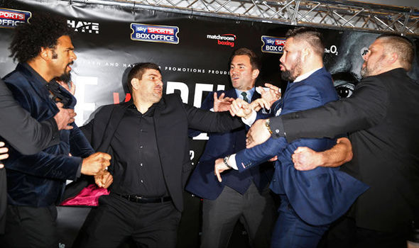 David Haye and Tony Bellew dragged apart during explosive face off ahead of March fight