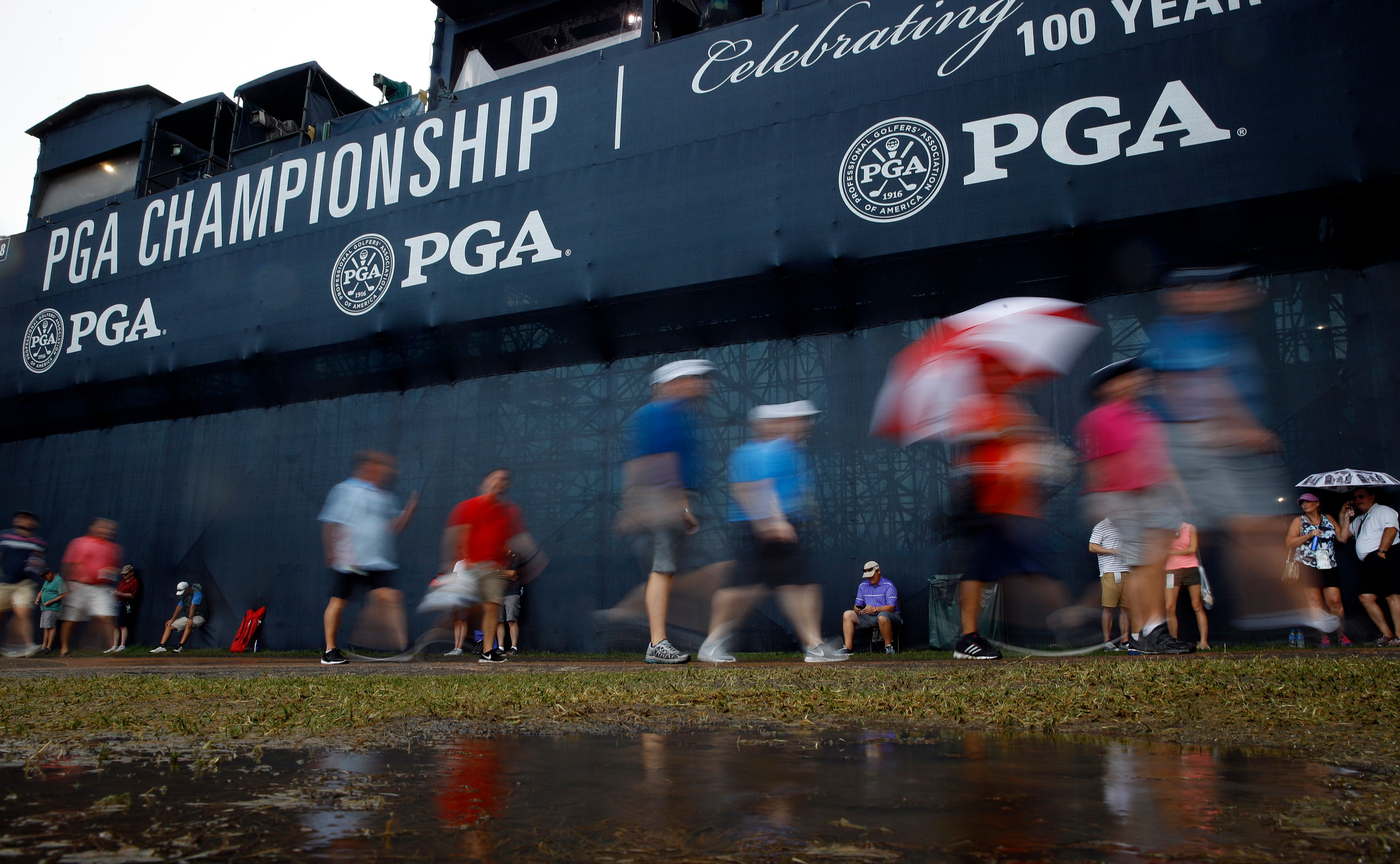 PGA Championship resumes with second round at wet Bellerive