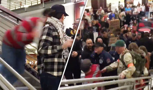 Anti-Trump protester crashes down flight of stairs in BRUTAL attack at university rally