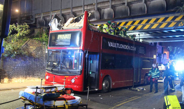 BREAKING: Five hospitalised as double decker bus crashes into railway bridge in Tottenham