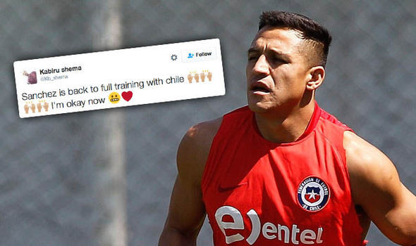 He should be out for two months! Arsenal fans rejoice as Alexis Sanchez back in training