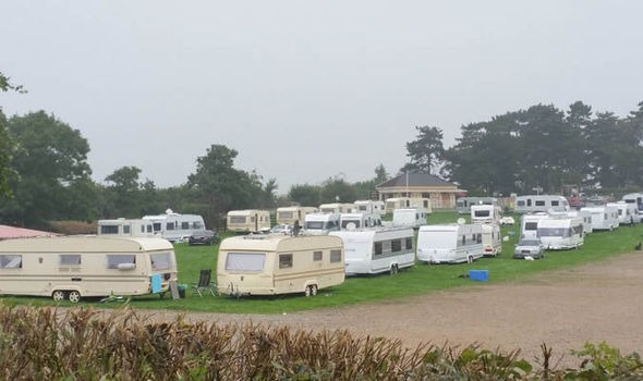 THIRTY French traveller caravans set up camp on Cheltenham Racecourse