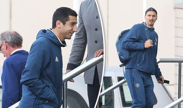 Spotted: Mkhitaryan arrives at the Lowry ahead of Man United's EFL Cup clash with Man City