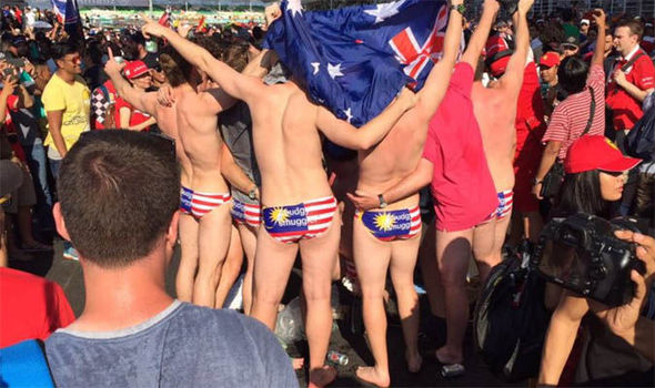 Nine Australians arrested for wearing just their underwear at Malaysian Grand Prix